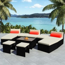 vidaXL Outdoor Modular Sofa Set 25 Piece Wicker Poly Rattan Black Sun Lounger - $835.99