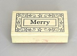 Outlines Rubber Stamp Co. Merry Wood Mounted Rubber Stamp