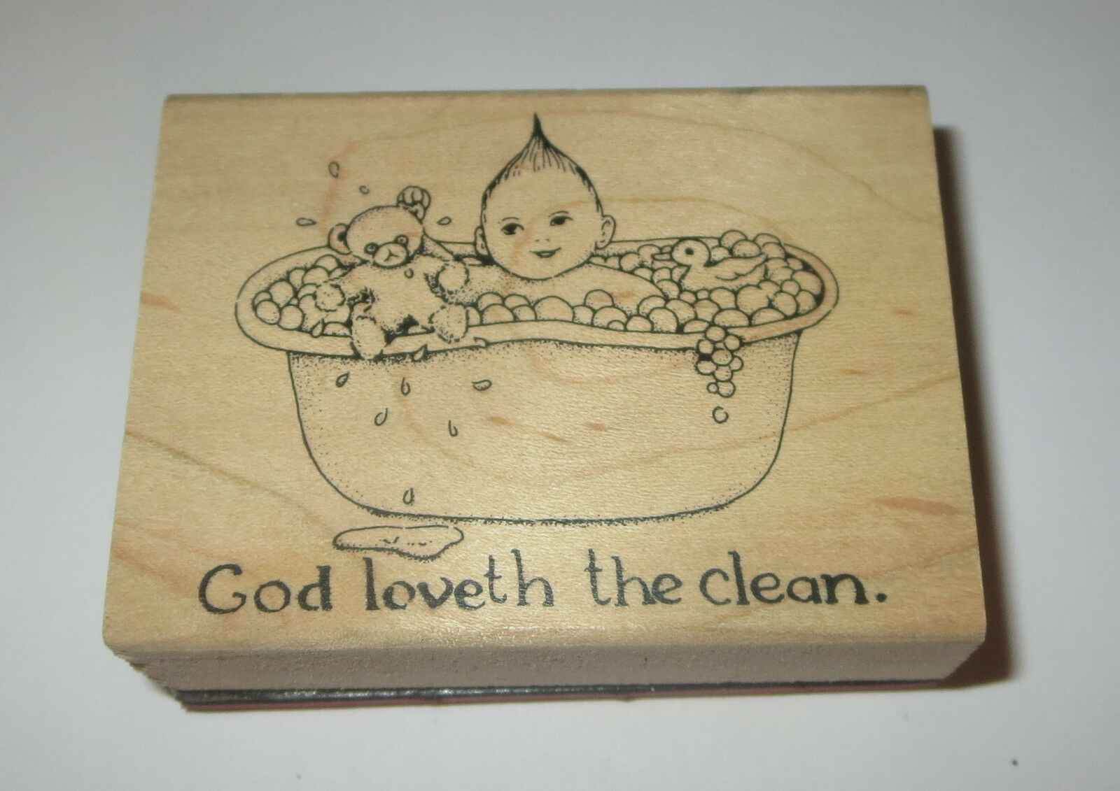 Primary image for God Loveth The Clean Rubber Stamp Baby Bathtub Teddy Bear Rubber Ducky Wood Mtd