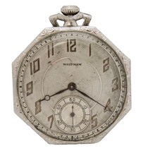 Waltham 14K White Gold Hand-Winding Colonial Circa 1924 USA Pocket-Watch - $850.00
