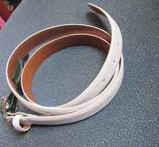 Ralph Lauren Women's Belt 100% Genuine Leather COLOR-WHITE X-LARGE Solid New - $64.90