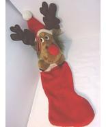 Vtg Reindeer Moose Christmas Stocking Plush Smithy Large 24'' Santa Hat ... - $40.05