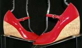 Franco Sarto 'Fashioni' red patent leather peep toe mary jane cork wedges 8M image 2