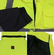 Men's Class 3 Safety High Visibility Water Resistant Reflective Neon Work Jacket image 9