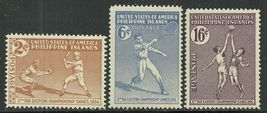 1934  Far Eastern Games Set of 3 Philippines Postage Stamps Catalog 380-82 MNH