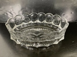 "Fostoria Cleat Glass Serving Dish Liberty Bell Coin With Scalloped Edge 9"" - $20.00"