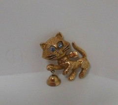 Vintage Avon Cat /Bell Brooch Blue Rhinestone Eyes  - $11.39