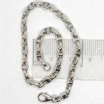 White Gold Bracelet 18k 750 Knitted Stud Made in Italy 21 cm long image 1