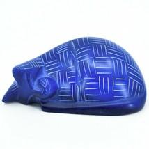 Vaneal Group Hand Carved Kisii Soapstone Dark Blue Sleeping Cat Figurine Kenya