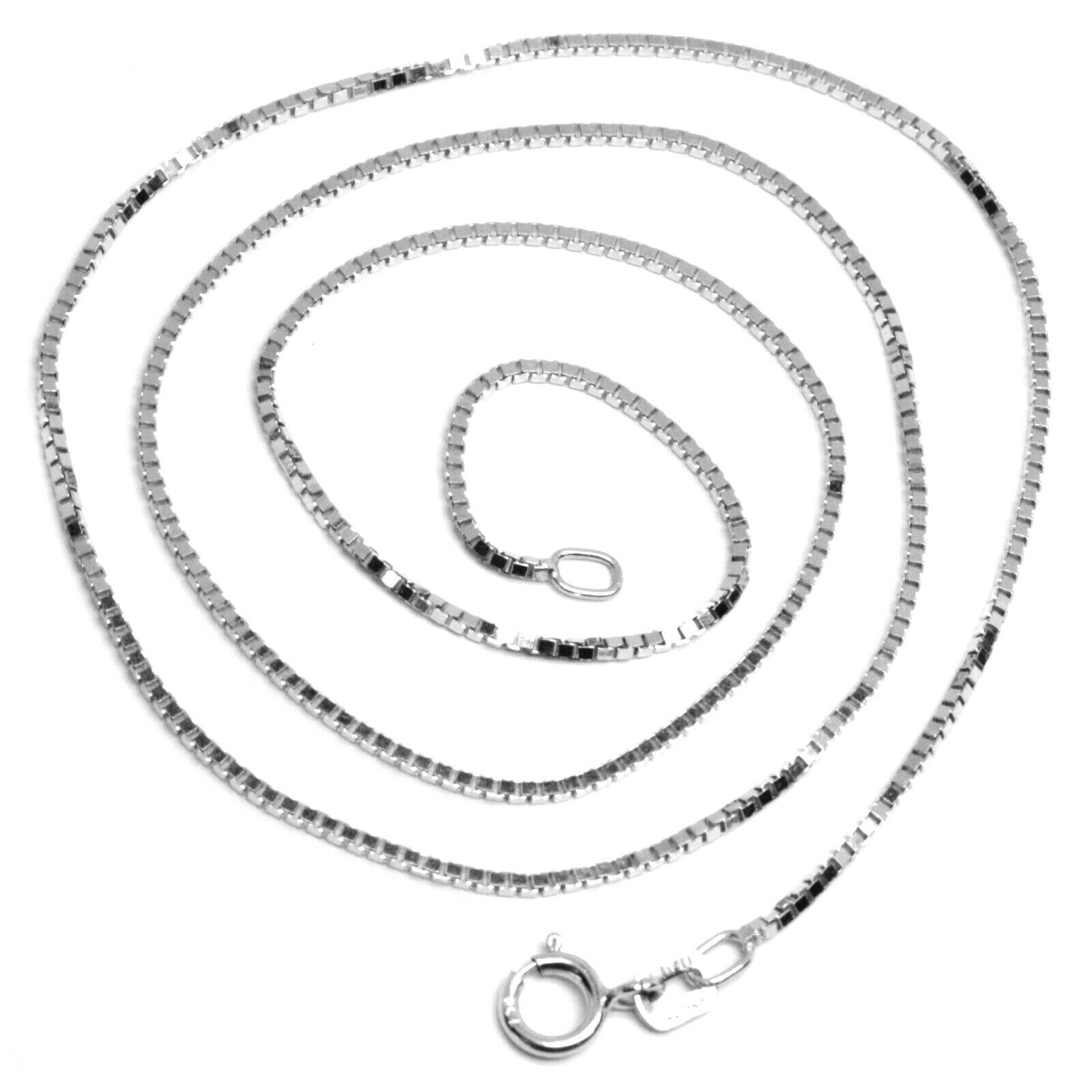 "SOLID 18K WHITE GOLD CHAIN 1.1 MM VENETIAN SQUARE BOX 17.7"", 45 cm, ITALY MADE"