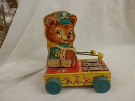 Vintage Fisher Price 1962 Tiny Teddy Xylophone wooden original Pull Toy - $29.99