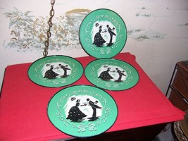 4 Vintage Metal Serving Trays with Southern Belle & Gentlemen Silhouette - $34.65