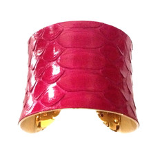 Raspberry Pink Snakeskin Cuff Bracelet - by UNEARTHED - $65.00