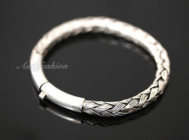 Mens Sterling Silver Bracelet Hand Crafted Woven Rope Style Chain Hip Hop b16 image 2