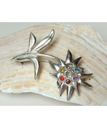Edelweiss brooch fine silver 999, pride rainbow gemstone flower power pin - £105.77 GBP