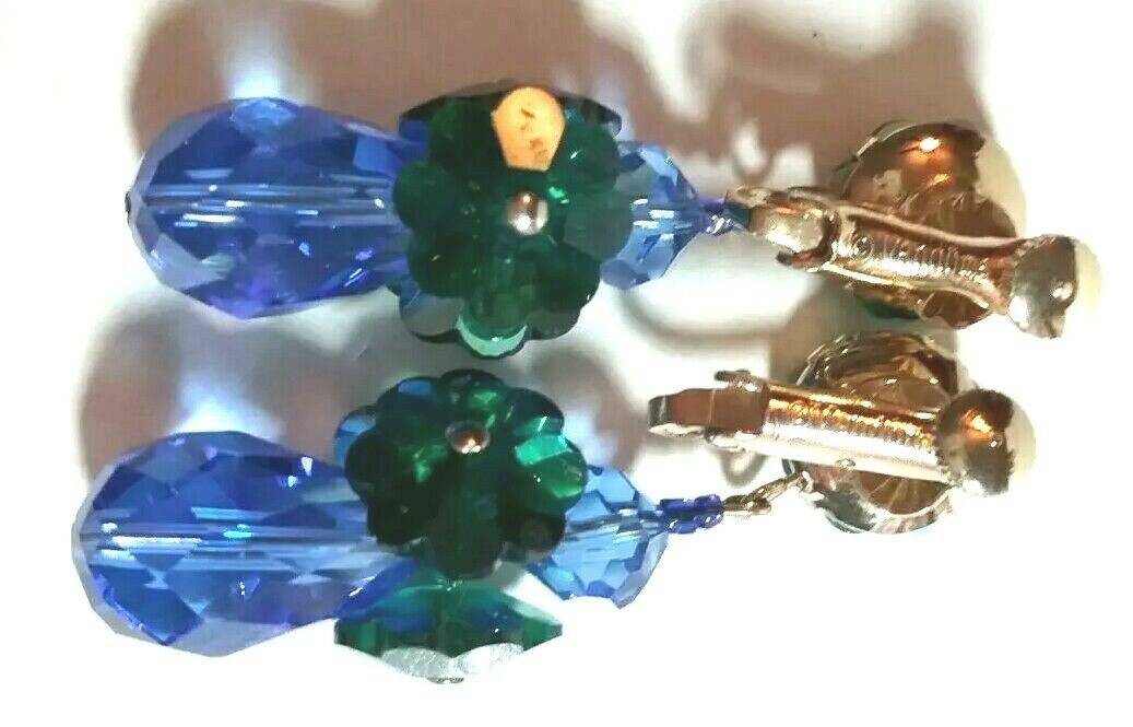 VINTAGE VENDOME SIGNED BLUE GREEN CRYSTAL CLIP ON CHANDELIER EARRINGS