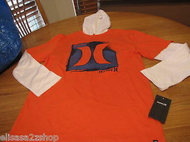 Boy's youth 4 kids Hurley long sleeve T shirt hoodie blaze orange NEW su... - $15.49