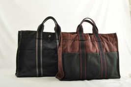 HERMES Fourre Tout MM Tote Bag 2Set Black Wine Red Cotton Auth 9719 - $140.00