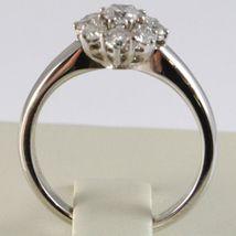 WHITE GOLD RING 750 18K, FLOWER ROSETTA WITH DIAMONDS CARAT TOTAL 0.77 image 3