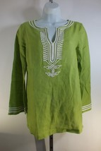 Michael Kors Linen Tunic Top Shirt Green Sz Small S Back Zipper Long Sleeve C3 - $34.45
