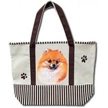 Pomeranian Dog Canvas Tote Bag Pet Shopping Purse Beach Diaper Puppy Pom - $29.88