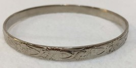 Bangle Bracelet Silver Tone Etched Repeating Floral Design Mexico - $14.84