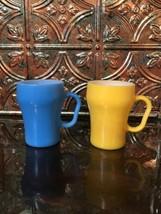 2 Vintage Anchor Fire King Soda Fountain Coffee Cups, Mugs, Blue 14 & Ye... - $28.66