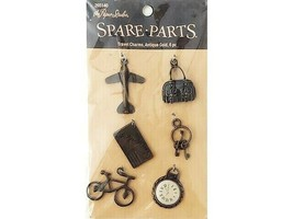 The Paper Studio Spare Parts Travel Charms, Antique Gold, 6 Pieces