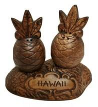 Vintage HAWAII Treasure Craft Ceramic  Pineapple Salt & Pepper Shakers w/ Stand - $15.99