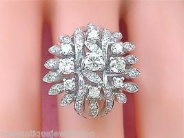 VINTAGE MID-CENTURY 1.5ctw DIAMOND 18K TALL CLUSTER STATEMENT COCKTAIL R... - $3,167.01