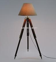 Nauticalmart Floor Standing Chrome Finish Wooden Tripod Floor Lamp - $144.00