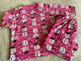 Childrens Place Girls Pink White Snowman 3/4 Sleeve Fleece Pajamas 10-12 - $14.52