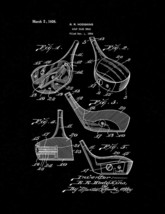 Golf Club Head Patent Print - Black Matte - $7.95+