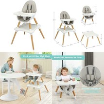 4-in-1 Baby Wooden Convertible High Chair  - $145.81