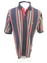 TOMMY HILFIGER Men Shirt POLO pit to pit 23 L vertical stripe vintage co... - $28.45