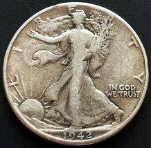 1942 USA Walking Liberty 90% Silver 50 Cent Half Dollar Coin - Great Con... - $10.38
