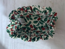 2003 Longaberger Cilantro Basket Combo Holly Berry Fabric Liner - $21.49