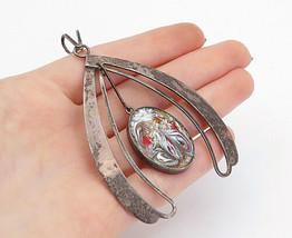 ISRAEL 925 Sterling Silver - Vintage Enamel Painted Dangling Pendant - P... - $65.36