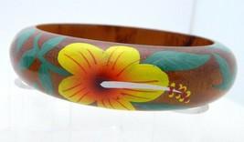 Vintage Floral Flower Painted Wood Wooden Bangle Bracelet - $24.75