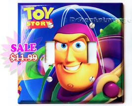 Buzz Lightyear Space astronaut Toy story Double light switch cover plate... - $11.97