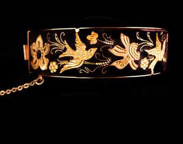 Victorian Bird  Bracelet  - doves in Gold - hinged Bangle - vintage mour... - $275.00