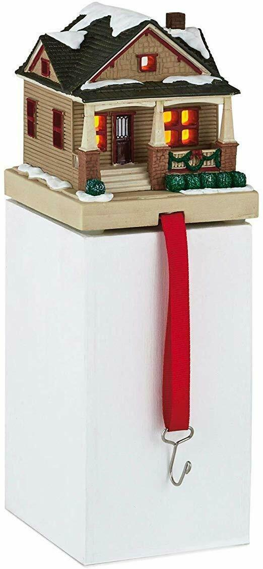 Primary image for Hallmark CHRISTMAS IN EVERGREEN Stocking Holder COTTAGE New Tealight Candle