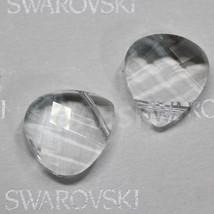 2pcs Swarovski Elements Crystal 6012 Briolette Flat Pendant Crystal Clea... - $2.60