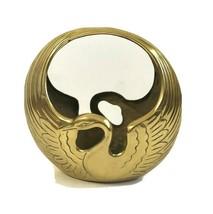 Vtg Solid Brass Swan Planter Centerpiece Mid Century Hollywood Regency E... - $141.55