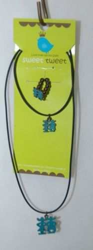 Sweet Tweet 3 Piece Necklace Set Black Cord Green Painted Cowboy Couple