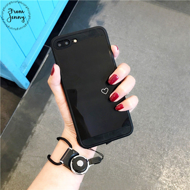 Smooth Mirror Love Heart Case For iPhone 7 6 6s 6splus 6plus Silicone Case
