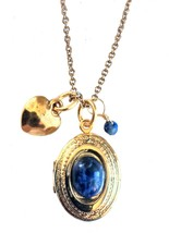 Alisa Michelle Gold Plated Loved Oval Locket with Blue Sodalite Gemstone Charms image 1
