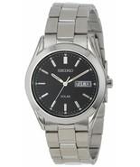 NEW Seiko SNE039 Solar Day Date Black Dial Silver Tone Steel Men's Watch... - $88.80
