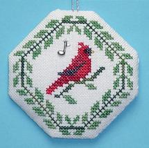 Songbird Ornament Cardinal with charm cross stitch chart Handblessings - $3.50