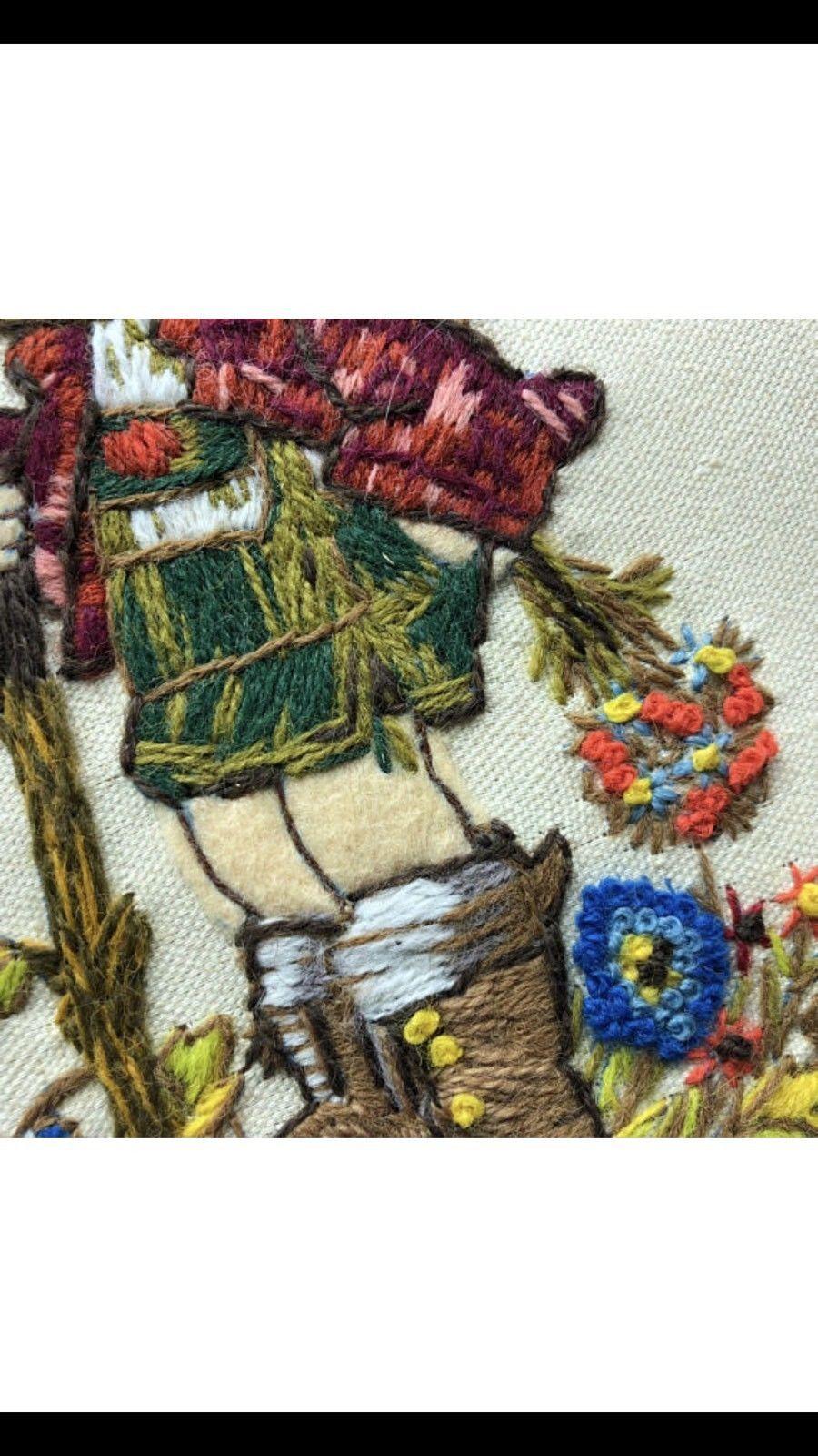 HUMMEL CROSS STITCH Peasant boy wall hanging 1980 picture frame W Germany goebel